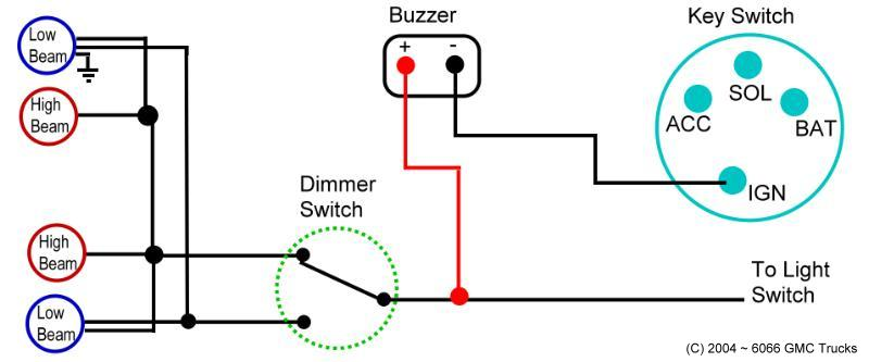 Headlight reply system the alamrs buzzer shown above are wired to the headlight switch with the red or positive side the ground side is wired to the key switch ign post asfbconference2016 Choice Image
