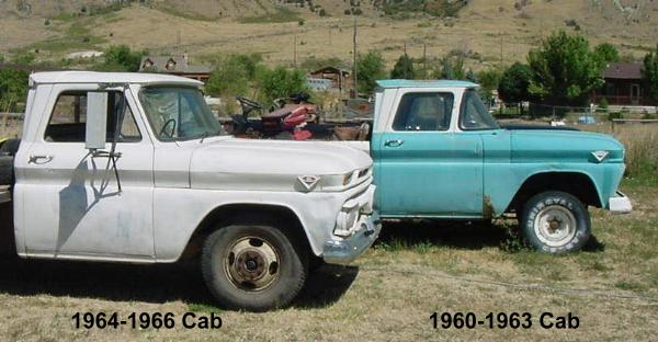 on the left is a 1965 GMC 2500, on the right a 1962 GMC 1000